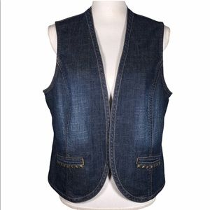 Chico's Platinum Denim Vest with Accented Pockets